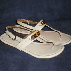 COACH Catherine White Patent Leather Sandals 7.5